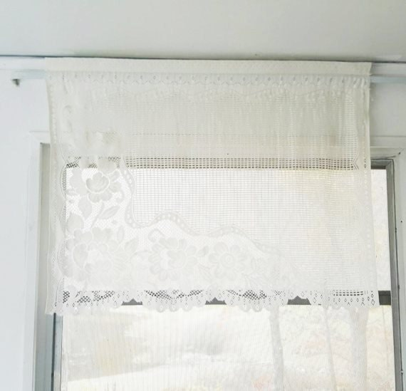 White Lace Curtain Panel French Country By Muttonhollowcottage