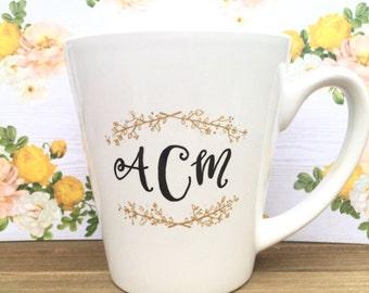 monogram mug / initial mug / unique wedding gift / newlywed mug / engagement gift / graduation gift / personalized valentine's day mug.