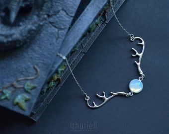 Hunter's Moon - Moonstone necklace, Silver Deer Antlers, Opalite, Elven, Tiny Doe, Mori, Strega pendant, Witchy Choker, Faerie, Gift for her