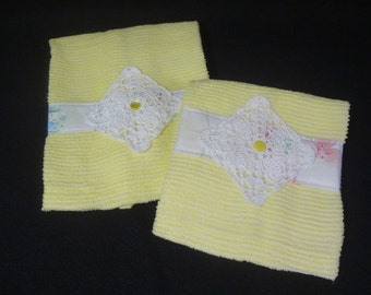 Yellow Cotton Chenille Hand Towels Upcycled from a Vintage Bedspread in Two Sizes