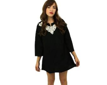 Handmade Black Tunic Dress with Ivory Lace Collar