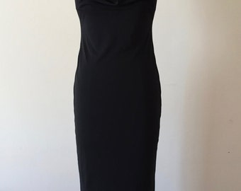 cowl / black knit halter / 1990 / Full Length / Dress / XS / S