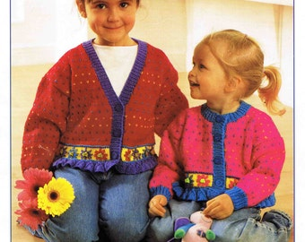 Young Girl's DK Round Neck V Neck Cardigan  Size 51 to 76 cm (20 to 30 inches) - Stylecraft Special DK 4777 - Vintage Retro Knitting Pattern