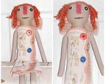 "Vintage Folk Art Raggedy Angel Doll ""Peaches"" by FosterChildWhimsy"