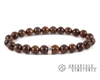 Bronzite Bracelet - Brown Jewelry, Brown Mens Bracelet, Brown Accessories, Brown Gemstone Bracelet for Men, Mala Bracelet