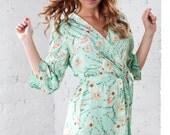 Floral Robe Mint Floral Kimono Dressing Gown Peppermint Kimono Gown Green Robe  Brides Bridesmaid Gift Bridal Party Wedding Satin Robes
