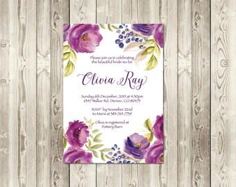 Plum + Fuchsia Bridal Shower Invitation