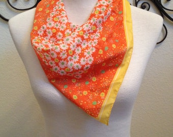 Mod Bright Floral Print Scarf 1960s Vintage Square Head Driving Scarf Retro Orange Yellow White Green