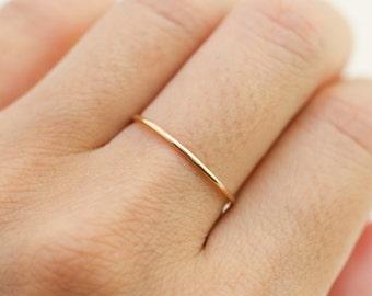 1mm wedding band for women, 14k gold, 14k rose gold, 14k white gold, skinny wedding band women, 1mm hammered simple wedding band, gol-r101