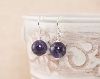 Sterling Amethyst Earrings, February Birthstone Earrings, Amethyst Gemstone Earrings, Modern Earrings, Simple Earrings, Purple Earrings