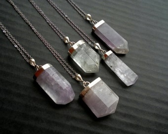 Kunzite Necklace Crystal Necklace Kunzite Pendant Crystal Point Pink Kunzite Jewelry Sterling Silver Setting Stone Necklace Boho Gemstone