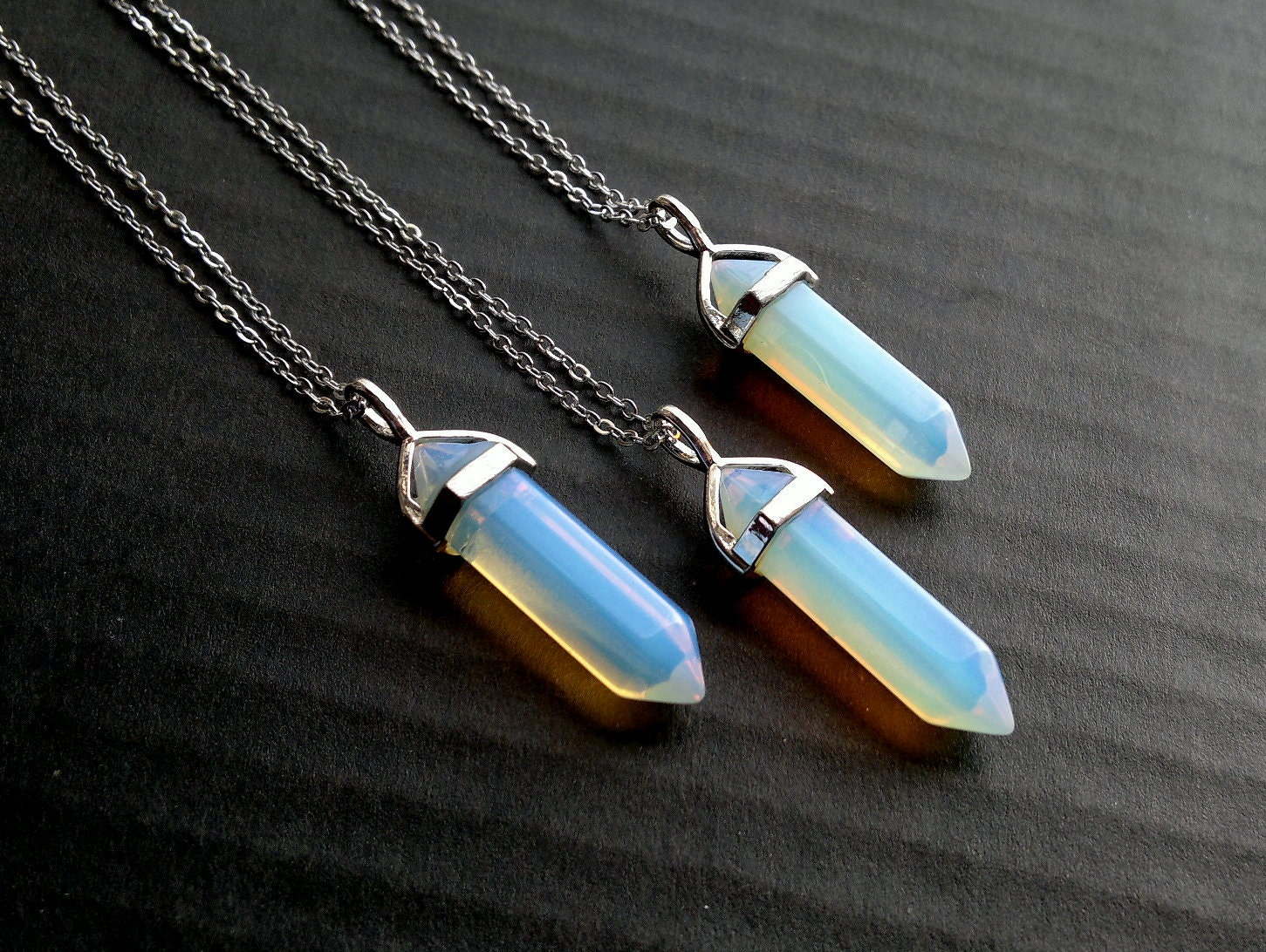 products image in lolly necklace opalite and hex pendant canada studio handmade cloud gemstone jewelry bar