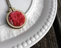 Hand Stitched Cross Stitch Necklace. Pink Red Floral Vintage Petit Point Embroidery Hoop Jewelry. Dandelyne Mini Hoop Pendant Gifts under 30