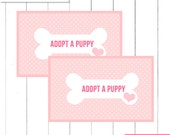 """Pink Puppy Birthday Party """"Adopt a Puppy"""" Favor Tags for Boxes  - Printable Digital Design"""