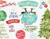 Christmas Cliparts, Watercolor Christmas Clip Art, Christmas Tree Clip Art, Santa Claus, Watercolor Overlays, Deer Cliparts C306