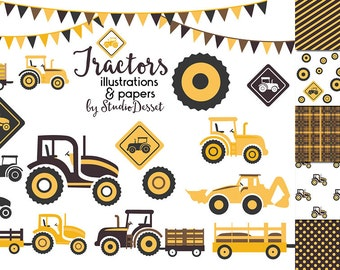 Tractor Clipart, Tractor Digital Papers , Yellow TractorElements for Card Making, Scrapbooking Supplies C272