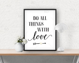 Do all things with love - PRINTABLE / Wall art / Wall decor / Black and Gold / Arrow