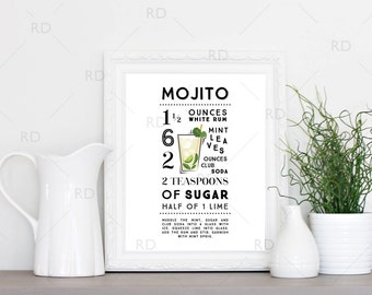 Mojito Cocktail Recipe - PRINTABLE Wall Art / Cocktail Recipe Wall Art / Mixed Drink with Recipes Printable Wall Art / Cocktail Wall Art