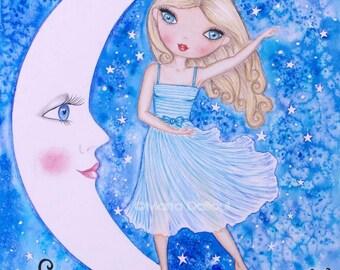 Girl moon art. Girls room art. Girl nursery art.  Girl nursery decor. Girl illustration. Inspirational quote girl art. Watercolor art print.