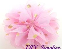 Light pink gold polka dot chiffon flower - 2.5 inch fabric flower - Ballerina ruffle flower - Pink flowers - Hair flower - Appliqué flower