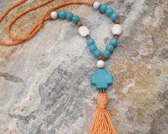 Long Beaded necklace orange tassel necklace Turquoise orange necklace long seed bead tassel necklace Bohemian necklace boho cross necklace