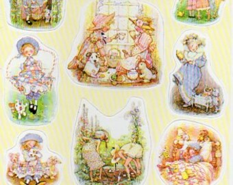 Vintage Holly Hobbie  postcard with stickers 1990