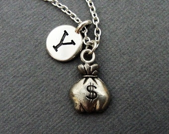 Money Bag Necklace, Bag of Money Keychain Keyring, Money Bags Bangle Bracelet, Gift for Banker Investor Investment Finance Financial Banking
