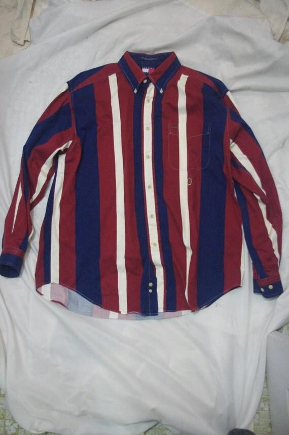 90s tommy hilfiger stripped shirt 1990s men 39 s size l. Black Bedroom Furniture Sets. Home Design Ideas