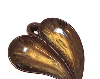 Ceramic Heart Shaped Dish - Pottery Heart Glazed Dish  - Leaf Dish