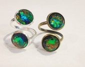 Black Fire Opal Ring, Mixed Metal Ring, Two Stone Ring, Adjustable Ring, Reversible Fire Opal Ring, Crushed Crystal Ring, Fire Opal Jewelry