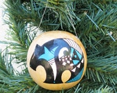 Southwestern Hand-painted Gourd Christmas Ornament #273G Bear Black Bear Southwest