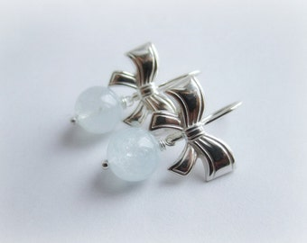 Aquamarine gemstone earrings sterling silver 925, genuine aquamarine drop earrings, silver bow earrings, gemstone earrings, italian jewelry