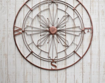 Nautical Compass Wall Art, Rustic Wall Decor, Metal Wall Art, Nautical Decor, Metal Compass Decor, Metal Wall Compass, Rustic Home Decor