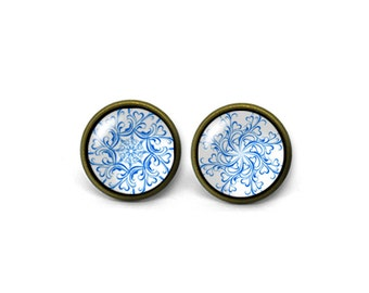 X816- Vintage Pattern, Glass Dome Post Earrings, Handmade