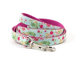 "Matching Floral Leash - 3/8"", 5/8"" or 3/4"" Leash - Pattern: Cottage Rose in Navy, Purple, Pink & Light Blue"