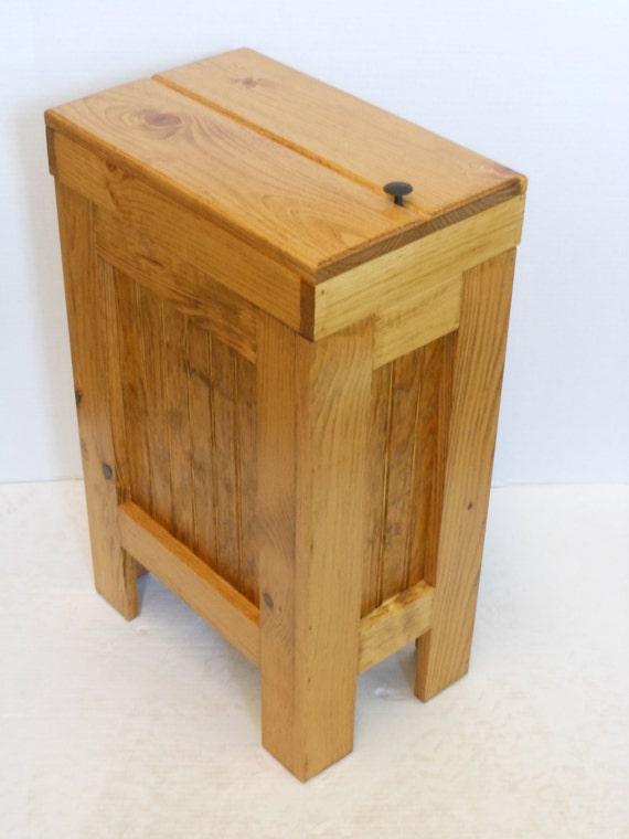 Wood wooden kitchen garbage can trash bin by buffalowoodshop - Wooden kitchen trash can with lid ...