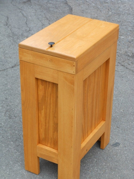 Wood Wooden Trash Bin Kitchen Garbage Can By Buffalowoodshop
