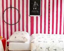 Gender Neutral White Pillow Case, Toddler, Kids & Teens White Cotton Bedding, Whimsical Circus Print, Children's Soft Bedding, Pillow Cover