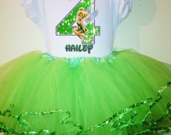 Tinkerbell Birthday Dress   1T,2T,3T,4T,5T,6,7,8,9,10 2pc tutu set..