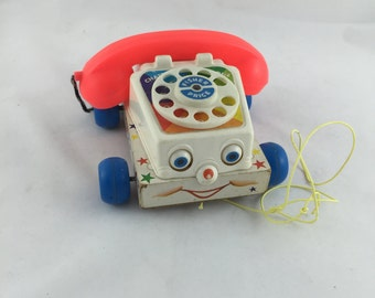 Vintage 1961 Fisher Price Chatter Telephone Pull Toy