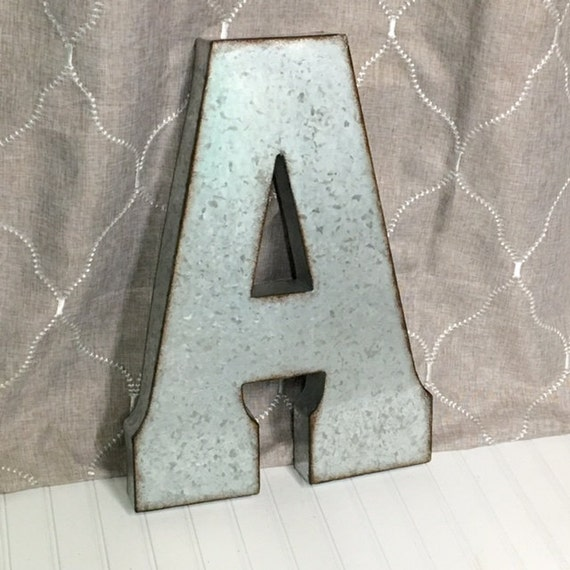 Large metal letter letter a galvanized metal wall letter large for Giant galvanized letters