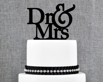 Dr and Mrs Wedding Cake Topper, Unique Cake Topper, Elegant Cake Topper, Engagement Gift, Doctor Wedding Gift, Modern Cake Topper - (T067)