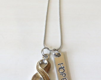 Gold Customizable Awareness Ribbon Stainless Steel Charm Necklace with Optional Add On Charms