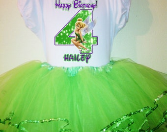 TINKERBELL Party Dress 1T,2T,3T,4T,5T,6T,7T,8T,9,10 2Pc birthday tutu set