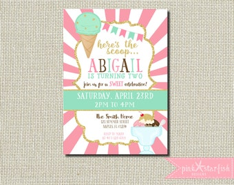 Ice Cream Birthday Invitation, Ice Cream Invitation, Glitter Ice Cream Invitation, Ice Cream Invitation, Glam, Mint Green, Pink, Printable