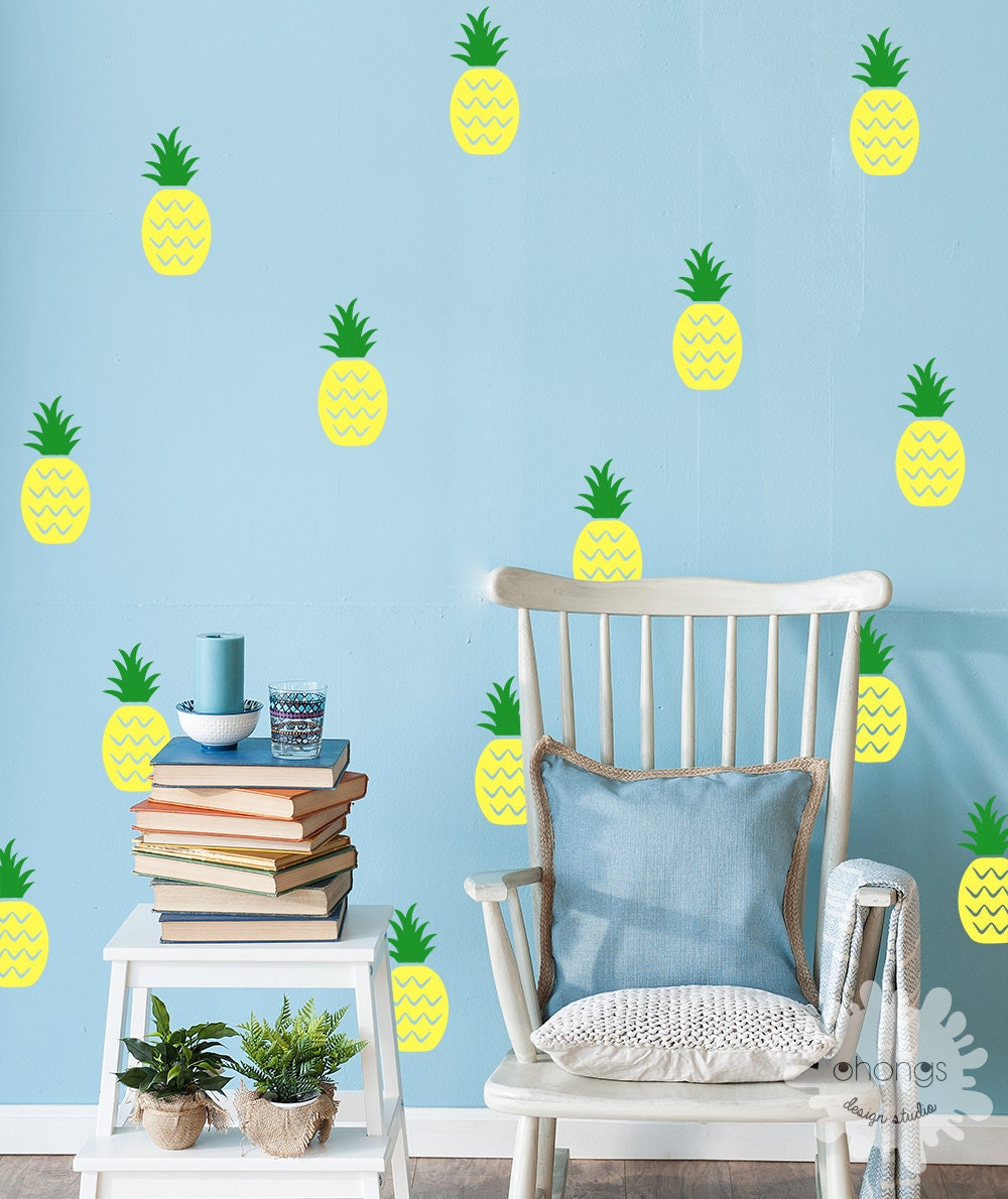 Pineapple Wall Decal / 2 Color Pineapple Sticker / Pineapple