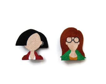 DARIA and JANE BROOCH - minimalist silhouette duo hand embroidered 6x6cm / 2x2 inches