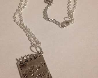 I love you silver notebook pendant necklace