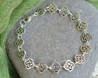 Open Celtic Knot Irish bracelet with Sterling silver clasp
