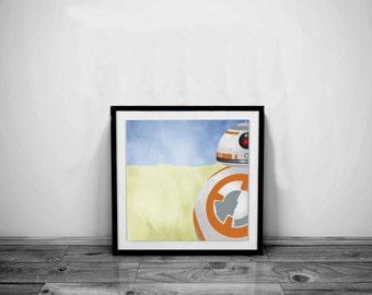 Star Wars Art BB8 Art Star Wars Print BB8 Print Star Wars Poster Star Wars Gift BB8 Poster Star Wars Decoration BB8 Gift BB8 Decoration